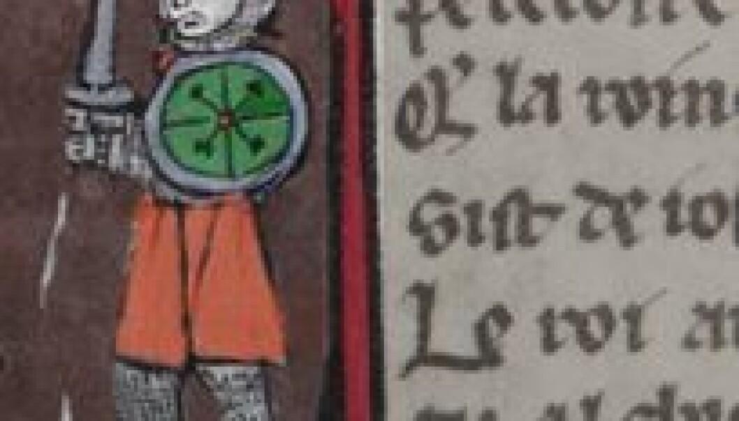 Mye tyder på at de franske ridderromanene ikke bare var ment å underholde, men også fremme og forskjønne ridderskapet. (Illustrasjon: Annica Thomsson. Kilde: Bibliothèque nationale de France)