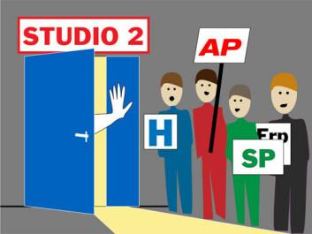 Ifølge Kjersti Thorbjørnsrud er norske politikere så ivrige at de gjerne løper til tv-studio. (Illustrasjon: Annica Thomsson)