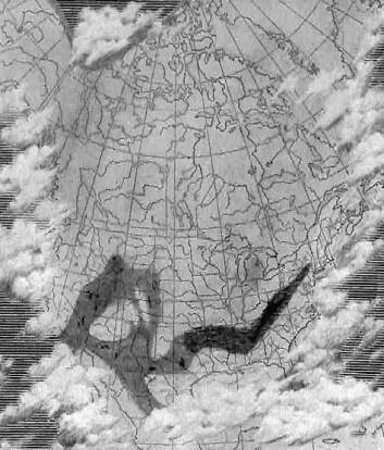 En anerkjent lærebokforfatter fikk en kunstner til å male skyer på kartene i boken slik at problematiske områder ble dekket. (Bildet er hentet fra boka Fixists vs. Mobilists av Allan Krill)