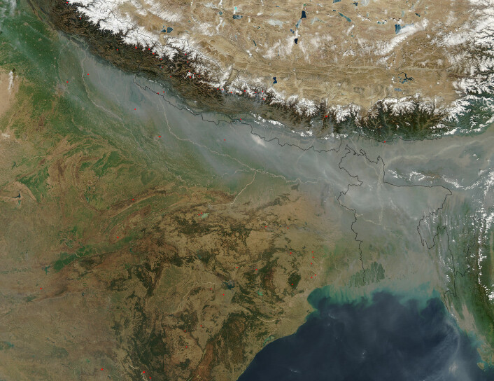 """""""Satelittbilde av aerosoler over India og Bangladesh (Foto: MODIS)"""""""