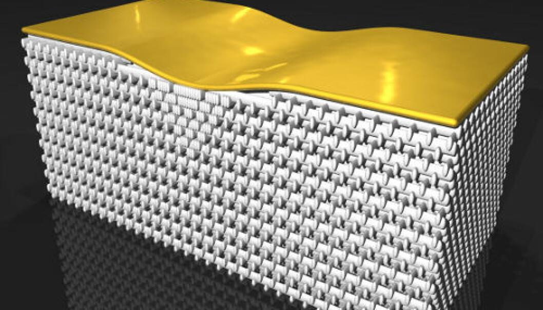 Slik virker det nye usynlighetsskjoldet: Under gullplaten ligger det et lag av fotonisk krystall, som er «flettet» som kubber i en vedstabel. Strukturen i materialet endrer seg under bulen i gullplaten, og derfor brytes lyset, slik at det lurer oss når vi ser på gullplaten. Man skal forestille seg at man ser på gullplaten «nedenfra», slik at lyset først treffer det fotoniske krystallen. (Foto: Science/AAAS)