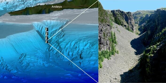 Bleiksdjupet utenfor Andøya er et opptil 1000 meter dypt gjel som skjærer inn i kontinentalskråninga. Gjelet er hele fire ganger dypere enn det mer kjente Jutulhogget ved Alvdal. (Illustrasjon: MAREANO)
