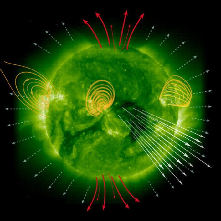 """""""Sola - Vår livgivende stjerne"""" viser nye sider ved sola. Dette bildet viser dannelse av solvind. Foto fra boka. (Foto: S. Hill/NASA/ESA)"""