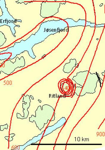 Ritlandkrateret i utkanten av Hardangervidda utgjør en ringformet struktur i landskapet. (Illustrasjon: Fridtjof Riis)