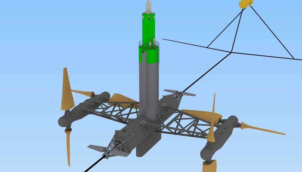 Hydra Tidals tidevannskraftverk vil flyte rett under overflaten, der kun den grønne delen vil stikke over. Turbinvingene får en diameter på 23 meter.