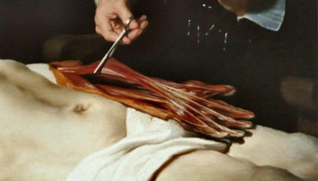"Utsnitt av Rembrandts ""Doktor Tulps anatomileksikon"". (Foto: Wikimedia Commons)"