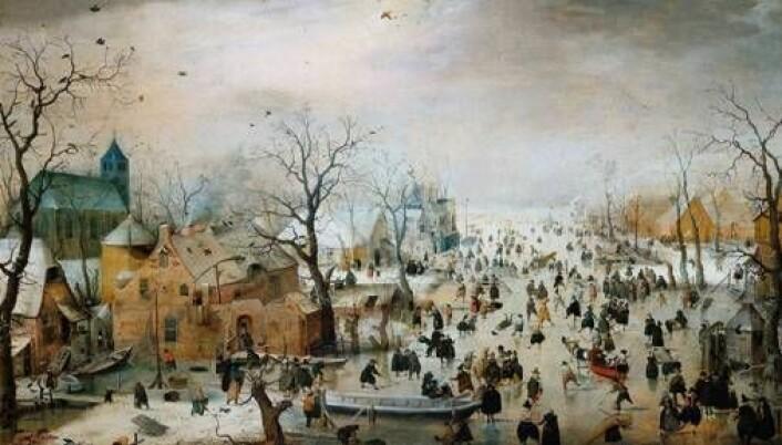 1600-tallet var preget av iskalde vintre i Nord-Europa. Bildet Vinterlandskap med skøyteløpere av Hendrik Avercamp (1585-1634) viser en scene fra Nederland. (Foto: Wikimedia Commons)