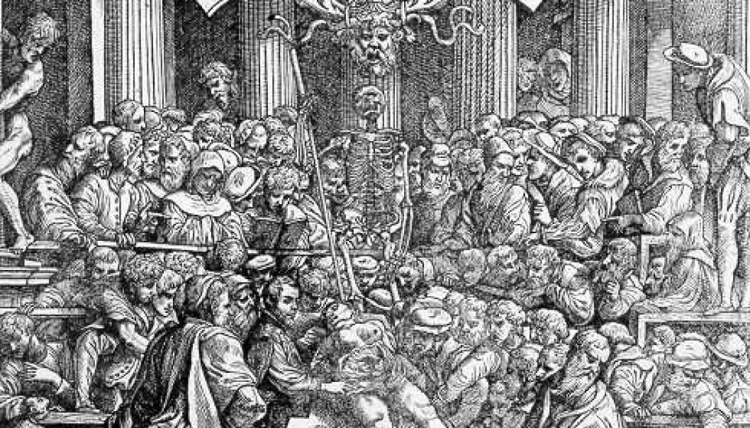 """""""Omslaget på De humani corpores fabrica libri septem av Andreas Vesalius (1543)."""""""
