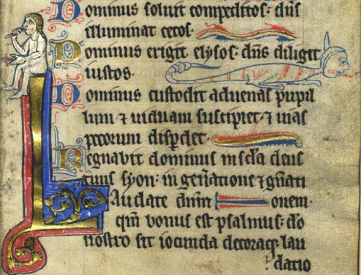 """""""Side fra en engelsk bok fra 1200-tallet. Tekstene i MEG-databasen er fra 1300 til 1500. (Foto: Wikimedia Commons)"""""""