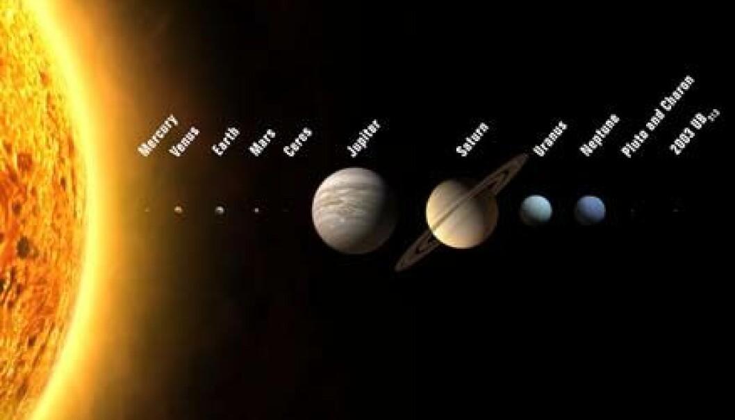 """""""Slik kan solsystemet bli etter at International Astronomical Union (IAU) har fattet sin avgjørelse i neste uke. (Illustrasjon)"""""""