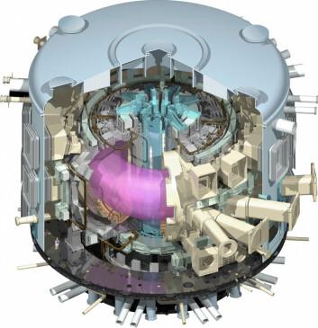 Gjennomskåret modell av ITER-reaktoren med hete, elektrisk ladede gasser ved høyt trykk, plasma, i midten. (Illustrasjon: ITER Organization)
