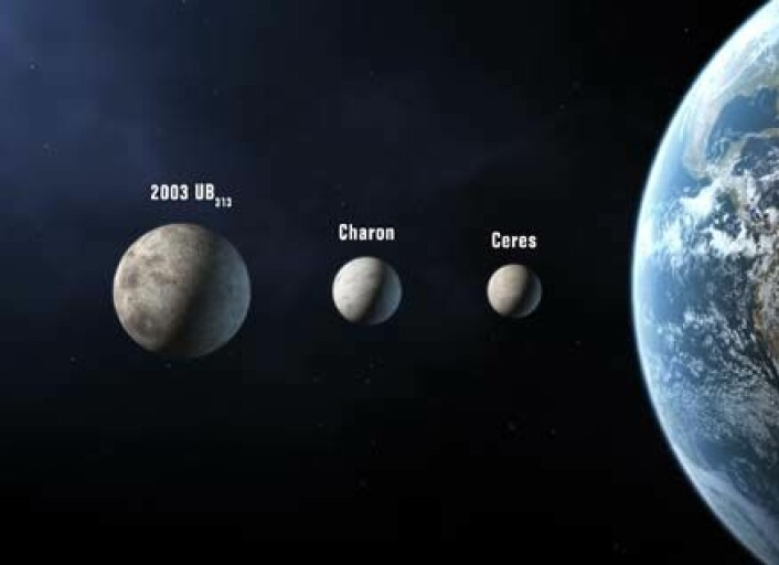 """""""Dette er de tre objektene som kan få ny status som planeter etter neste uke. (Illustrasjon)"""""""