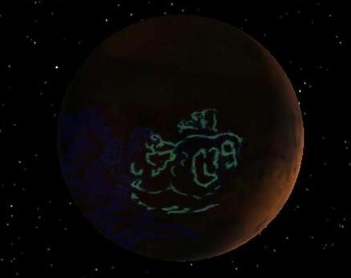 """""""En illustrasjon av det merkelige nordlyset på Mars. (Illustrasjon: ESA)"""""""