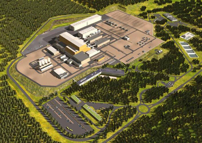 Slik vil det ferdigbyggede ITER se ut. Den store, orange bygningen i midten er Tokamak-hallen. (Illustrasjon: ITER Organization)