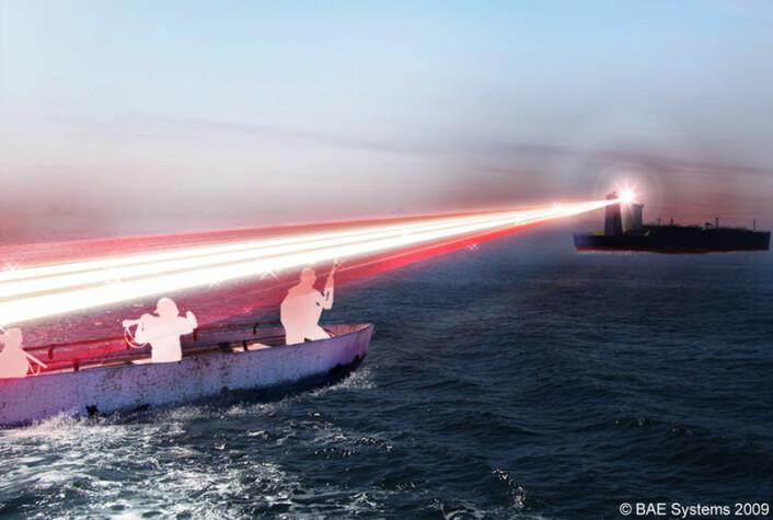 Det britiske BAE Systems er i ferd med å utvikle en laserkanon som kan brukes mot pirater. (Illustrasjonsfoto: BAE Systems © 2010)