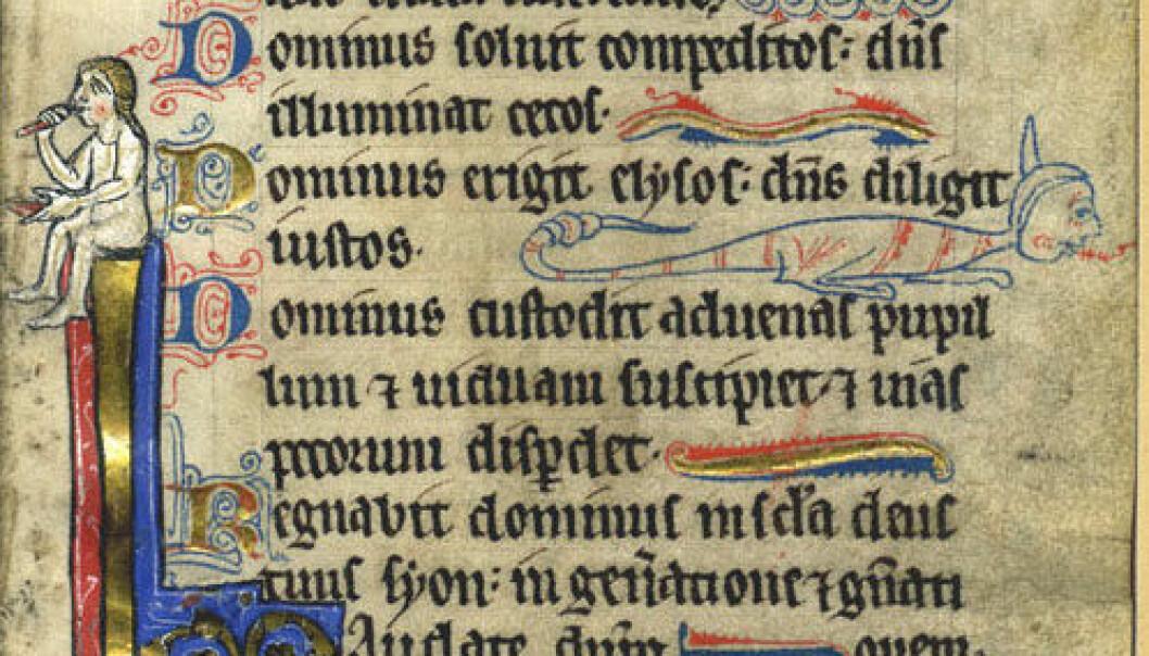 Side fra en engelsk bok fra 1200-tallet. Tekstene i MEG-databasen er fra 1300 til 1500-tallet. (Foto: Wikimedia Commons)