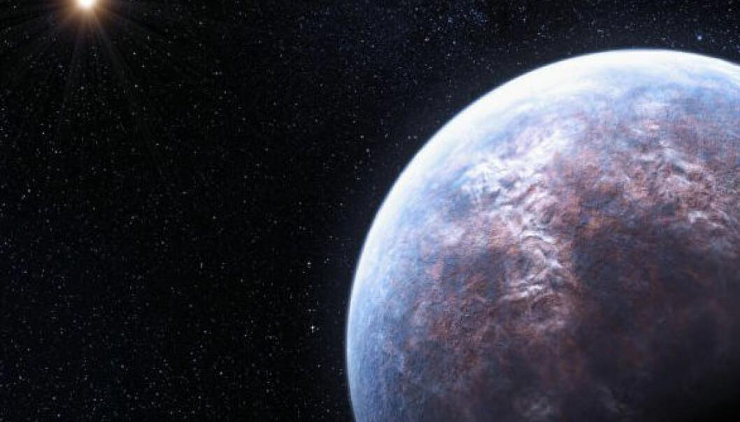 High Accuracy Radial Velocity Planet Searcher (HARPS), i ESO's 3,6-meters telescope, har funnet hele 32 eksoplaneter. En av dem kretser rundt stjernen Gliese 667 C, som hører til i et system med tre soler. Planeten har seks ganger massen til jorda, og subber lavt over stjernen sin - bare 1/20 av avstanden mellom jorda og sola. (Illustrasjon: ESO/L. Calçada)