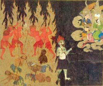Tyrkisk teikning frå 1400-talet som viser profeten Muhammed på rundtur i helvete: Demonar som har kome med falske skuldingar vert spidda.
