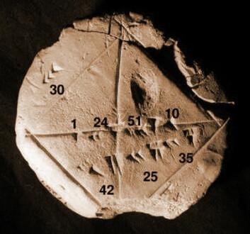 Babylonsk leirtavle med tall i kileskrift, fra ca. 1600-1800 f.Kr. (Foto: Bill Casselman, Yale Babylonian Collection)