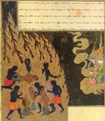Tyrkisk teikning frå 1400-talet som viser profeten Muhammed på rundtur i helvete: Dei som baktaler vert tvungne til å ete sitt eige kjøt.