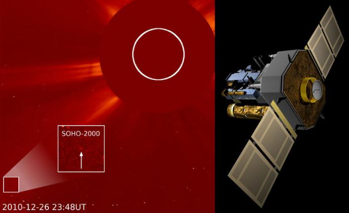 Komet nummer 2000, oppdaget av den polske amatørastronomen Michal Kusiak 26. desember 2010. Innrammet felt viser kometen som en liten lysflekk. Til høyre modell av romobservatoriet SOHO. (Bilde: SOHO/Karl Battams/NASA/ESA/Alex Lutkus)