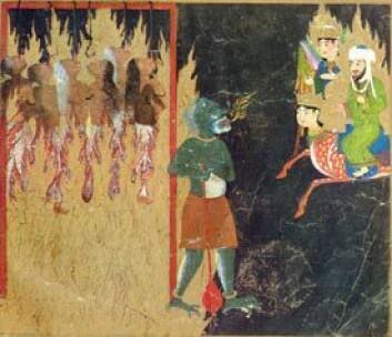 Tyrkisk teikning er frå 1400-talet som viser profeten Muhammed på rundtur i helvete: Kvinner som ikkje har tagd stille blir hengt etter tunga.