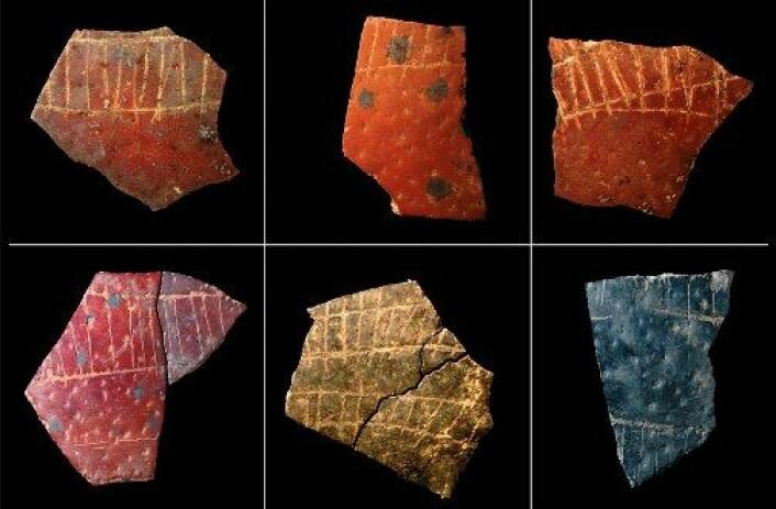 Et utvalg 60 000 år gamle fragmenter av strutseegg fra Sør-Afrika, funnet i en steinalderbosetting. Risset inn på eggeskallene sees deler av repeterende mønstre. Steinaldermenneskene brukte eggeskall som vannbeholdere og merket dem med symboler. Fargeforskjellene skyldes at noen av skallene er utsatt for varme. (Foto: Pierre-Jean Texier, Diepkloof project)