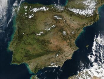 """""""De fleste av de 72 stedene forskerne har funnet spor etter pattedyr fra istiden ligger nord på den iberianske halvøya. (Foto: NASA)"""""""