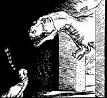 """""""Tyrannosaurus har vært ute på byen, og lister seg forsiktig på plass igjen i museet - bak den sovende vakten. (Tegning: Bogdan Bocianowski)"""""""