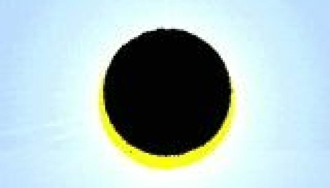 """""""Solformørkelsen 31. mai 2003 slik den vil fortone seg fra Oslo når den er maksimal."""""""