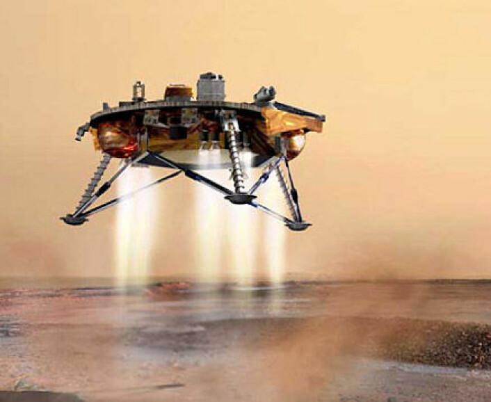 NASAs Phoenix Mars Lander, som Mars Ones lander skal baseres på. (Illustrasjon: NASA/JPL/C. Waste)