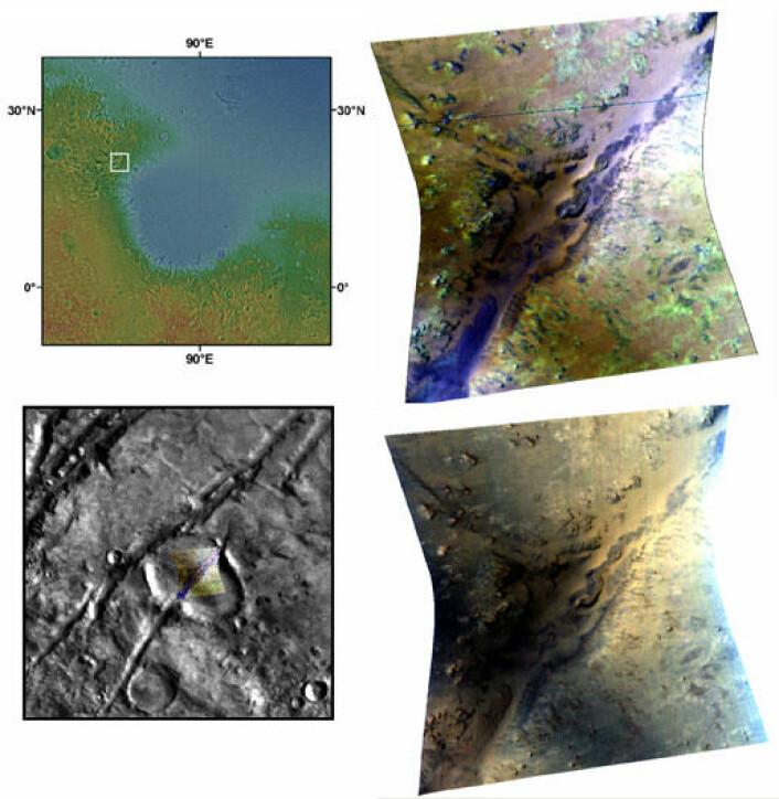 """""""Et bilde tatt med CRISM. De lysegrønne områdene viser forekomster av phyllosilikater, det leireaktige mineralet som kan fortelle oss om vannets historie på Mars. Illustrasjon: NASA/JPL/JHUAPL/Brown University """""""