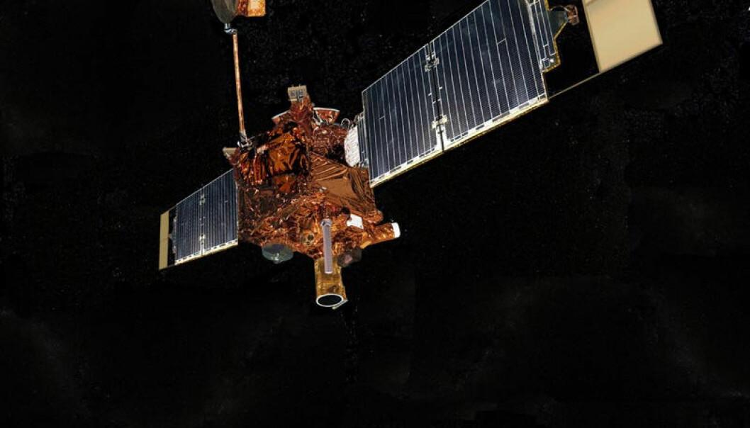 Mars Reconnaissance Orbiter (MRO) er en av tre sonder som går i bane rundt Mars. Den ser etter spor etter vannmasser og samler data om klimaet på planeten. Illustrasjon: NASA/JPL