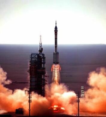 Fra oppskytingen av Shenzhou V. (Foto: Wikimedia Commons)