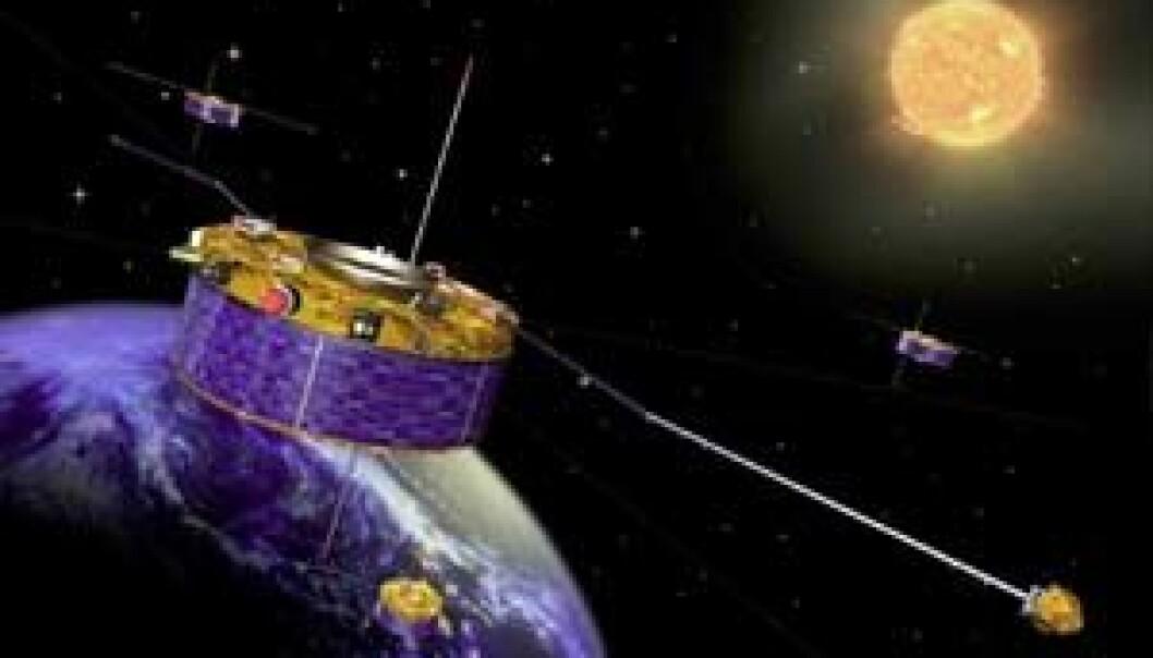 """Dei fire Cluster-satellittane i bane rundt jorda. (Ill:ESA/J.Huart)"""