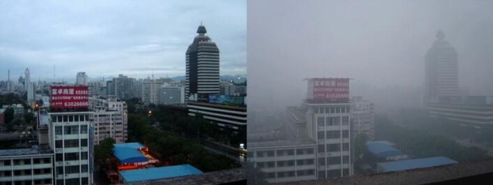 """""""Bildet til venstre er tatt i Bejing, etter to dager med luftrensende regn. Bildet til høyre er tatt på det som egentlig var en solrik dag, men viser hvordan smogen skygger for solen. (Foto:Bobak Ha'Eri - 2005/Wikimedia Commons)"""""""