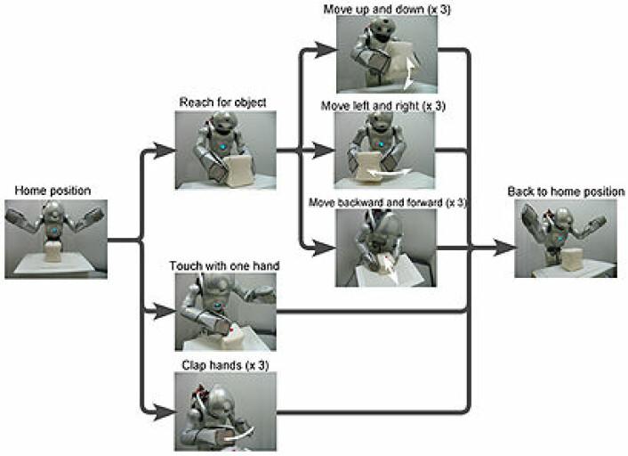 Roboten Qrio stod foran et bord med en kloss. Den fikk oppgaver som var sammensatt av enklere bevegelser. (Figur: Yuichi Yamashita)