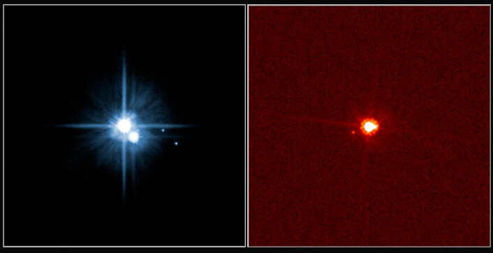 """""""Plutoidene Pluto og Eris. Bildene viser Pluto (venstre) med de tre månene Charon, Hydra og Nix, og Eris med månen Dysnomia. (Foto: International Astronomical Union)"""""""