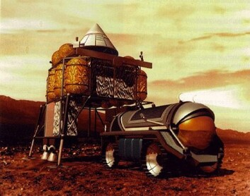 """""""Under lange romferder til Mars må astronautene utnytte sitt eget biologiske avfall til å lage mat, vann og oksygen. (Illustrasjon: NASA)"""""""