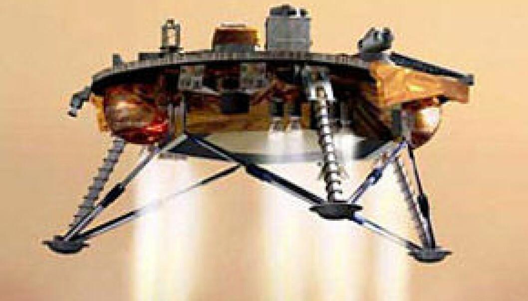 Phoenix bremset den siste delen av fallet ved hjelp av de tolv små rakettmotorene sine. Så inntok sonden slettelandet ved nordpolen på Mars. Illustrasjon: NASA.