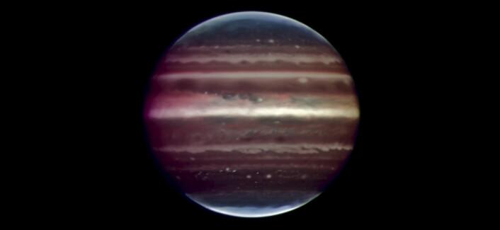 Dette bildet er det skarpeste som er tatt av Jupiter fra jorden. Planeten befinner seg omlag 600 millioner kilometer fra jorden. (Foto: ESO/F. Marchis, M. Wong, E. Marchetti, P. Amico, S. Tordo)
