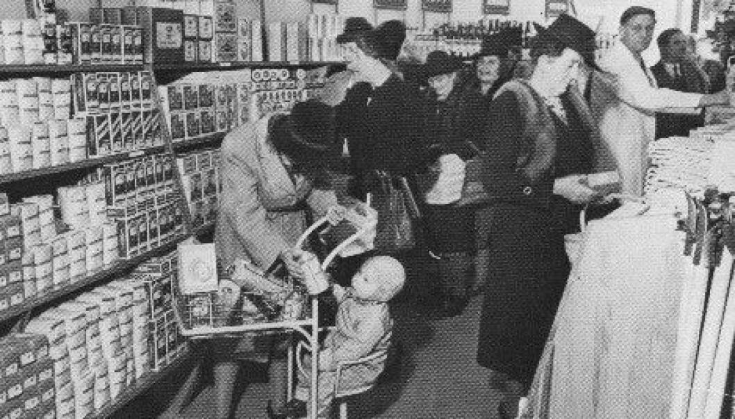 Norges første selvbetjente butikk - Parkveien 65 mot slutten av 40-årene. (Foto: Coop)