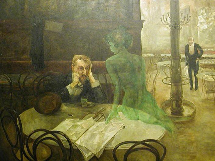 """""""'Absintdrikkingens glederslik kunstnerenViktor Oliva forestilte seg dem i 1901. (Foto hentet fra Wikipedia.)"""""""