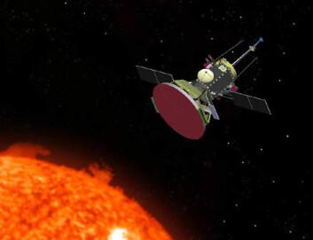 """""""Solar Probe er NASAs nye solsonde. Den skal gå helt inn i solas ytre atmosfære for å svar på sentrale spørsmål om vår nærmeste stjerne. (Illustrasjon: NASA/JHUAPL)"""""""