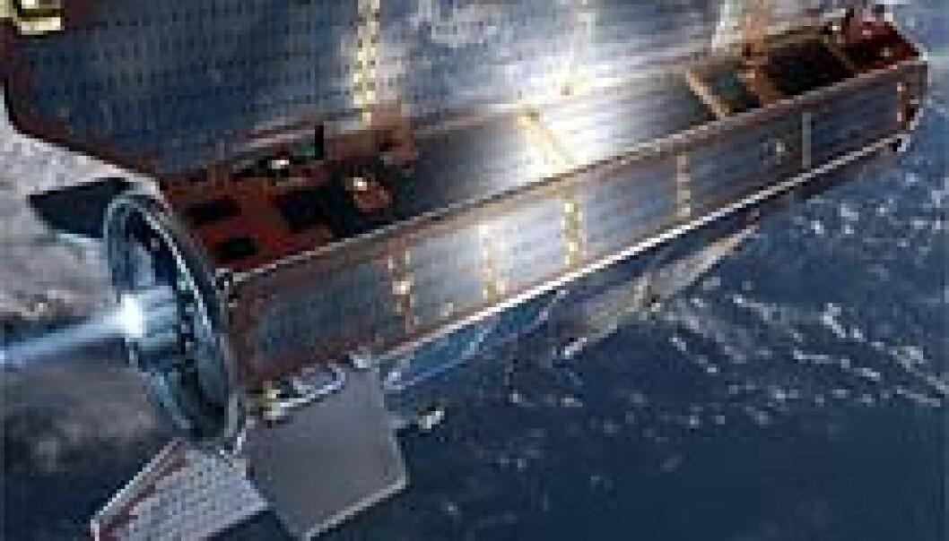 Den europeiske satellitten GOCE skal måle jordas tyngdefelt. (Illustrasjon: ESA)