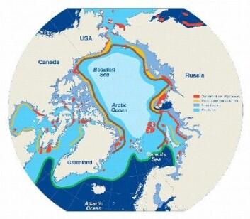 """""""Et nett av landråker danner det sirkumpolare landråk systemet. Dette er noen av de mest produktive områdene i Arktis. (Figur: Barber og Massom 2006)"""""""