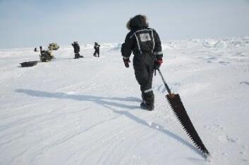 """""""Issag er et nyttig redskap i studier av isalger. Bildet er fra Amundsengulfen, mars 2008. (Foto: Jean Gaume/Magnum Foto)"""""""