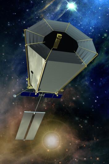 """""""Slik ser NASA for seg Terrestrial Planet Finder Inteferometer, et romobservatorium som skal finne ut mer om planeter utenfor vårt eget solsystem. (Illustrasjon: NASA)"""""""