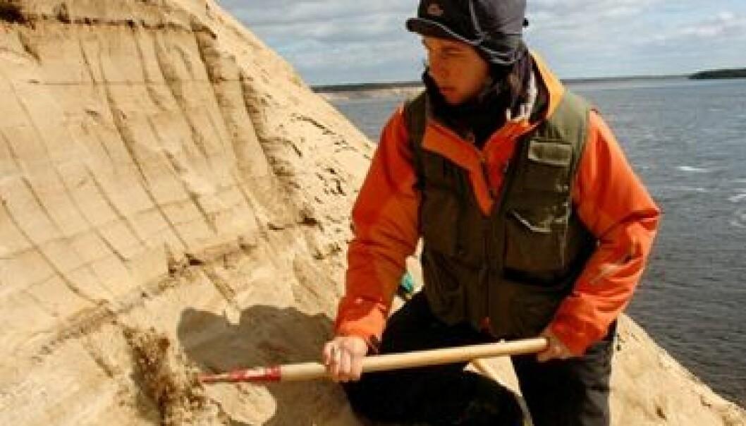 Forsker Maria Jensen graver i gammel sjøbunn på jakt etter fortidas klimaendringer. Her er hun i den lange Tolokonka-skjæringen ved elva Dvina. (Foto: Gudmund Løvø)