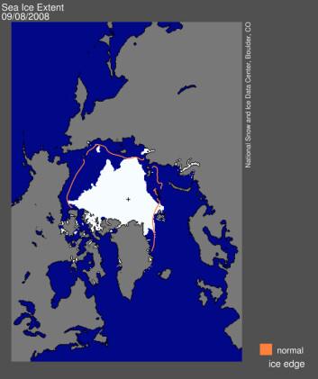 Kartet viser isutbredelsen i Arktis 8. sept. 2008. Den orange linjen viser normalutbredelsen, dvs. gjennomsnittet for denne dagen i perioden 1979 til 2000. (Kilde: National Snow and Ice Data Center)